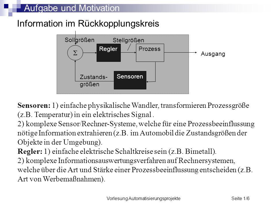 Vorlesung Automatisierungsprojekte Seite 1/6 Information im Rückkopplungskreis ReglerProzess Ausgang Sensoren  Sensoren: 1) einfache physikalische Wa