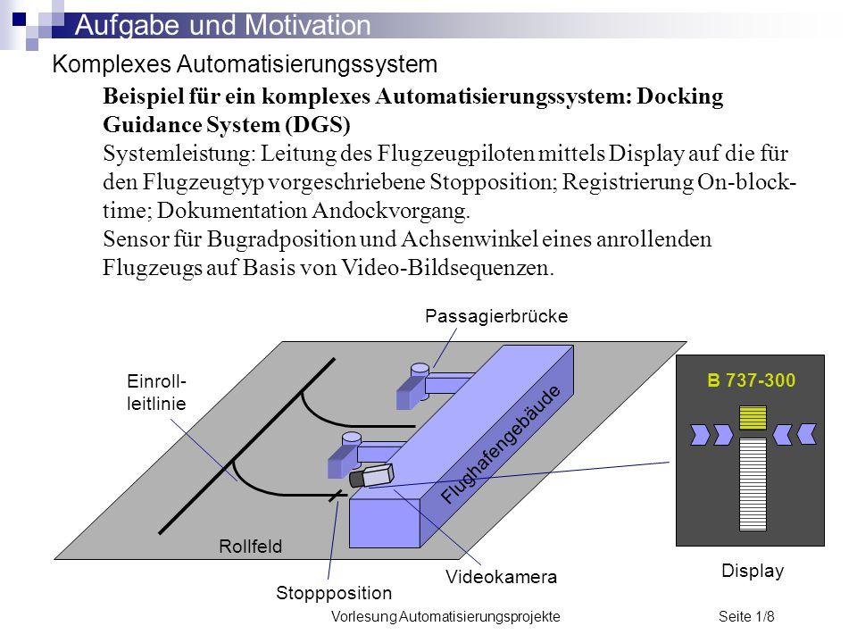 Vorlesung Automatisierungsprojekte Seite 1/8 Komplexes Automatisierungssystem Beispiel für ein komplexes Automatisierungssystem: Docking Guidance Syst