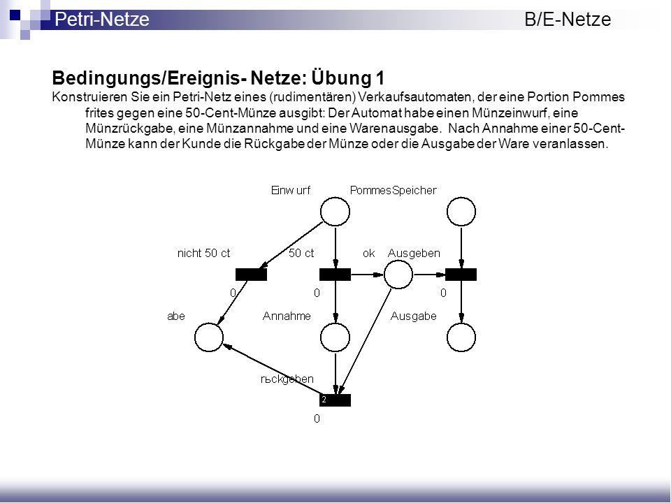 Bedingungs/Ereignis- Netze: Übung 1 Konstruieren Sie ein Petri-Netz eines (rudimentären) Verkaufsautomaten, der eine Portion Pommes frites gegen eine