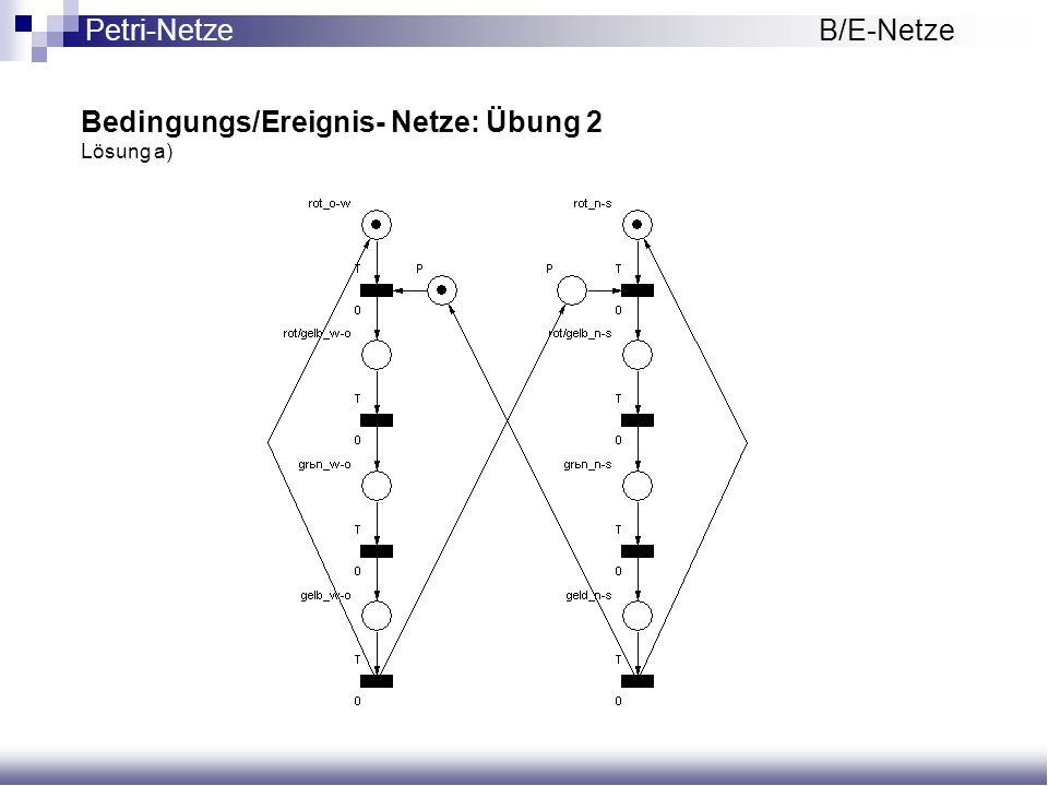 Bedingungs/Ereignis- Netze: Übung 2 Lösung a) Petri-NetzeB/E-Netze