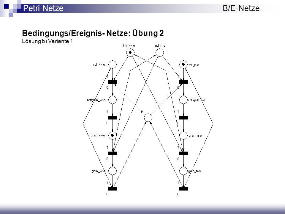 Bedingungs/Ereignis- Netze: Übung 2 Lösung b) Variante 1 Petri-NetzeB/E-Netze