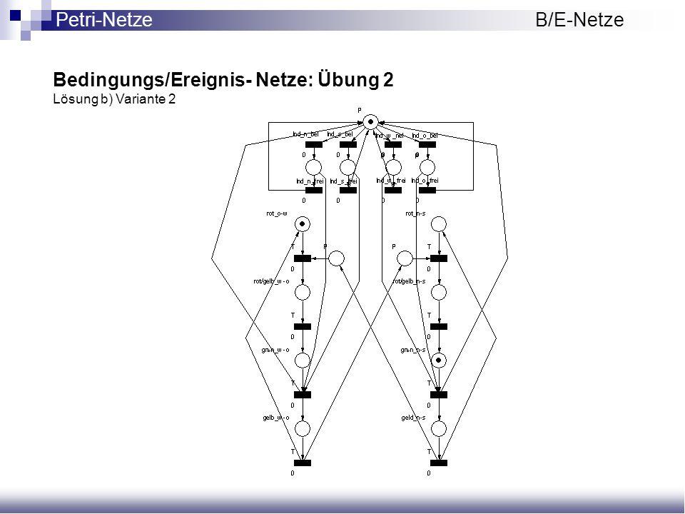 Bedingungs/Ereignis- Netze: Übung 2 Lösung b) Variante 2 Petri-NetzeB/E-Netze