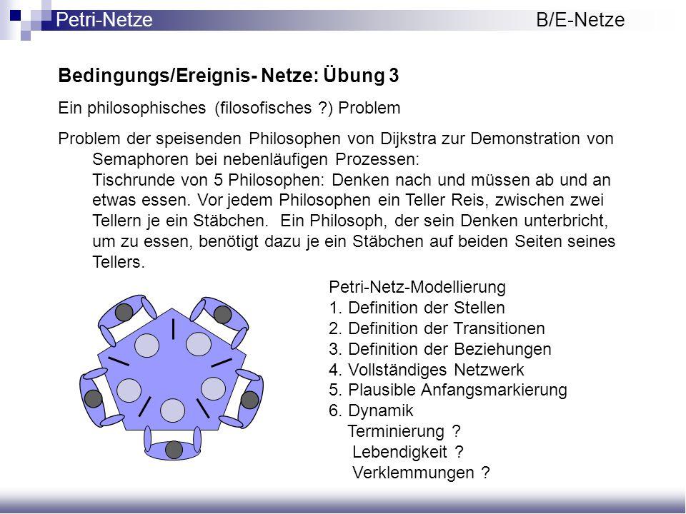 Bedingungs/Ereignis- Netze: Übung 3 Ein philosophisches (filosofisches ?) Problem Problem der speisenden Philosophen von Dijkstra zur Demonstration vo