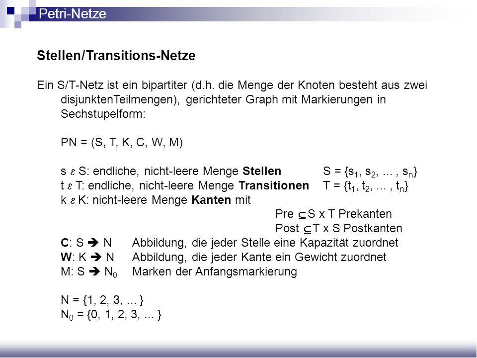 Stellen/Transitions-Netze Ein S/T-Netz ist ein bipartiter (d.h. die Menge der Knoten besteht aus zwei disjunktenTeilmengen), gerichteter Graph mit Mar