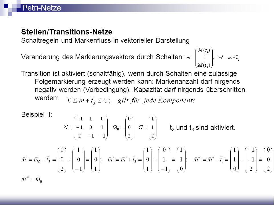 Stellen/Transitions-Netze Schaltregeln und Markenfluss in vektorieller Darstellung Veränderung des Markierungsvektors durch Schalten: Transition ist a