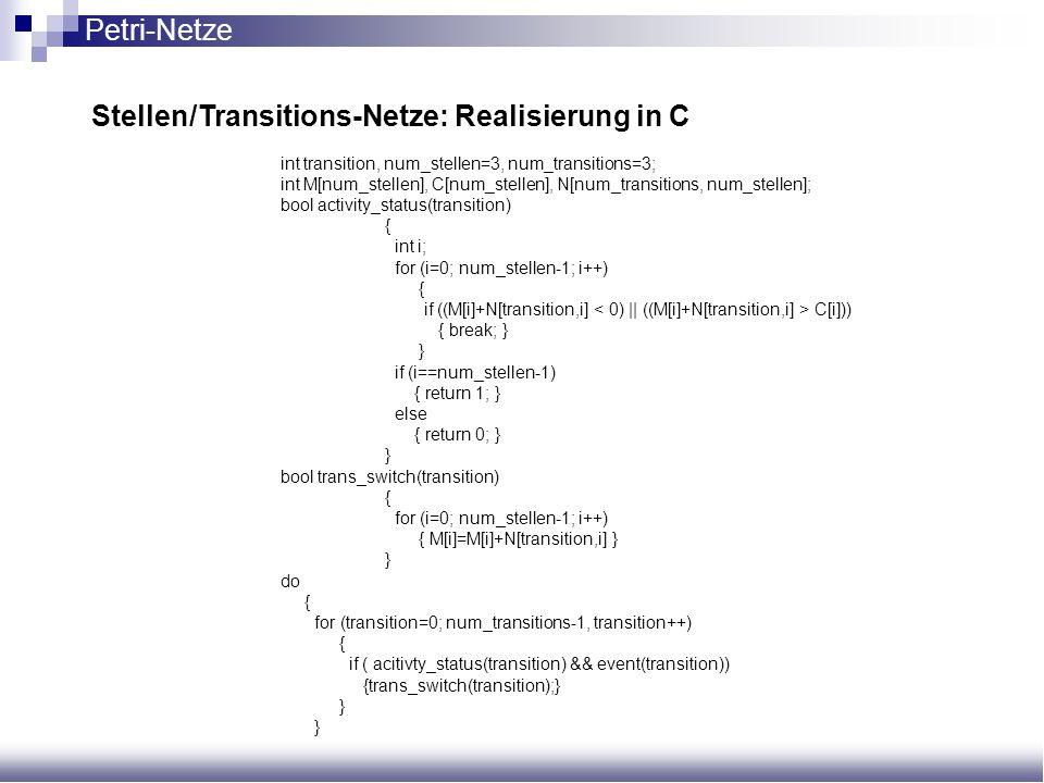 int transition, num_stellen=3, num_transitions=3; int M[num_stellen], C[num_stellen], N[num_transitions, num_stellen]; bool activity_status(transition
