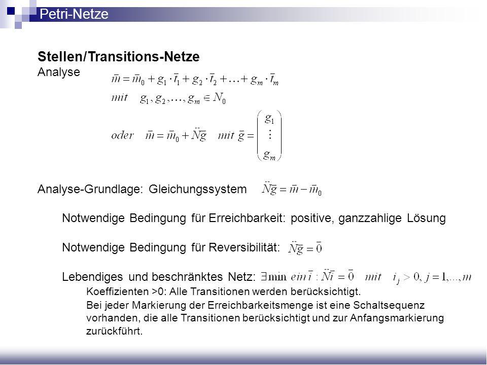 Stellen/Transitions-Netze Analyse Analyse-Grundlage: Gleichungssystem Notwendige Bedingung für Erreichbarkeit: positive, ganzzahlige Lösung Notwendige