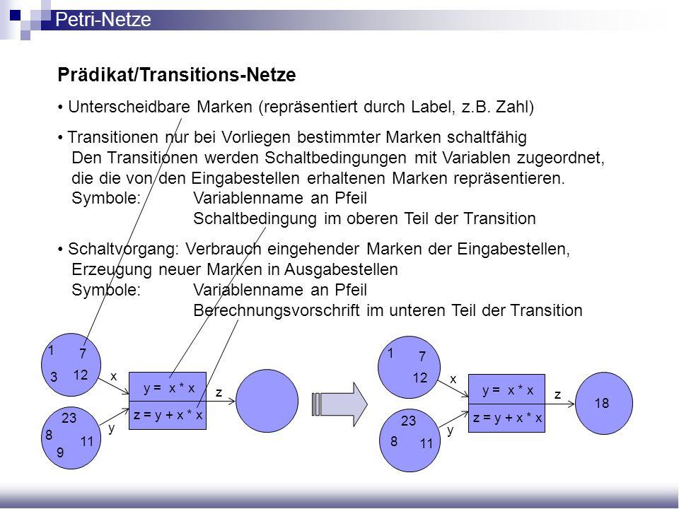 Prädikat/Transitions-Netze Unterscheidbare Marken (repräsentiert durch Label, z.B. Zahl) Transitionen nur bei Vorliegen bestimmter Marken schaltfähig