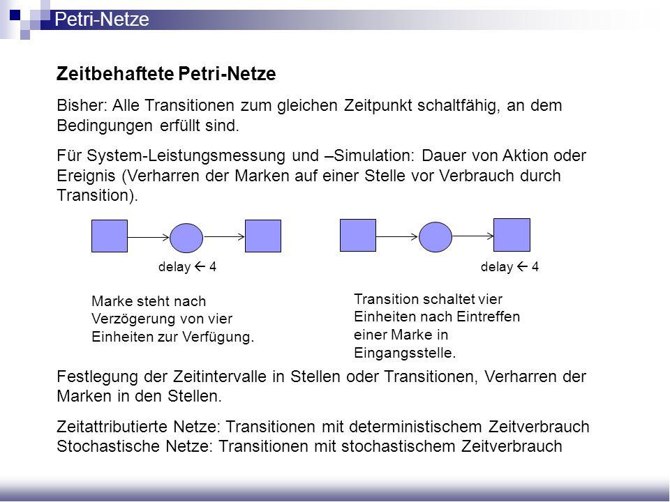Zeitbehaftete Petri-Netze Bisher: Alle Transitionen zum gleichen Zeitpunkt schaltfähig, an dem Bedingungen erfüllt sind. Für System-Leistungsmessung u