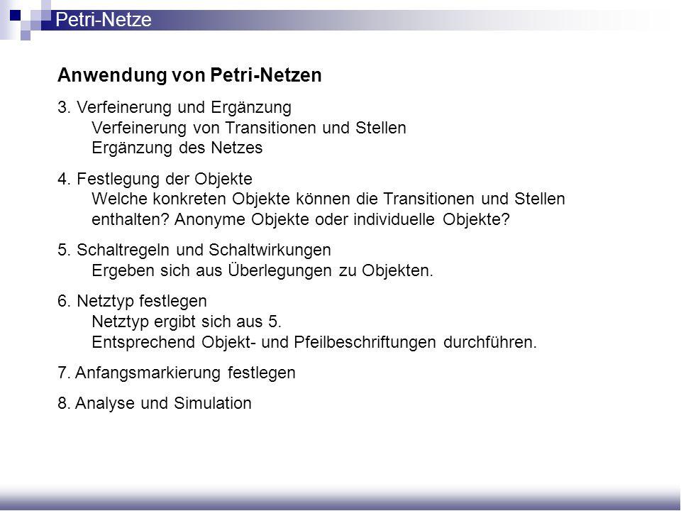 Anwendung von Petri-Netzen 3. Verfeinerung und Ergänzung Verfeinerung von Transitionen und Stellen Ergänzung des Netzes 4. Festlegung der Objekte Welc