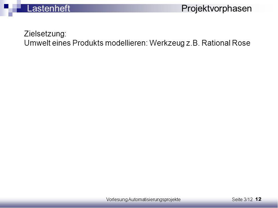 12Vorlesung Automatisierungsprojekte Seite 3/12 Zielsetzung: Umwelt eines Produkts modellieren: Werkzeug z.B. Rational Rose Lastenheft Projektvorphase
