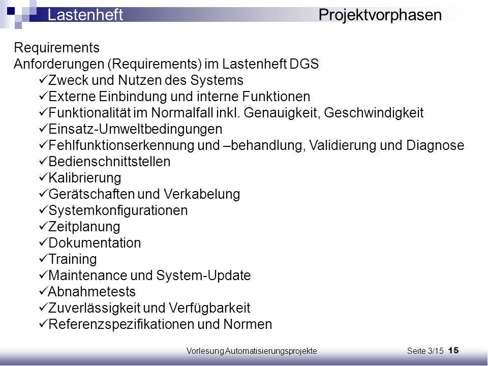 15Vorlesung Automatisierungsprojekte Seite 3/15 Requirements Anforderungen (Requirements) im Lastenheft DGS Zweck und Nutzen des Systems Externe Einbi