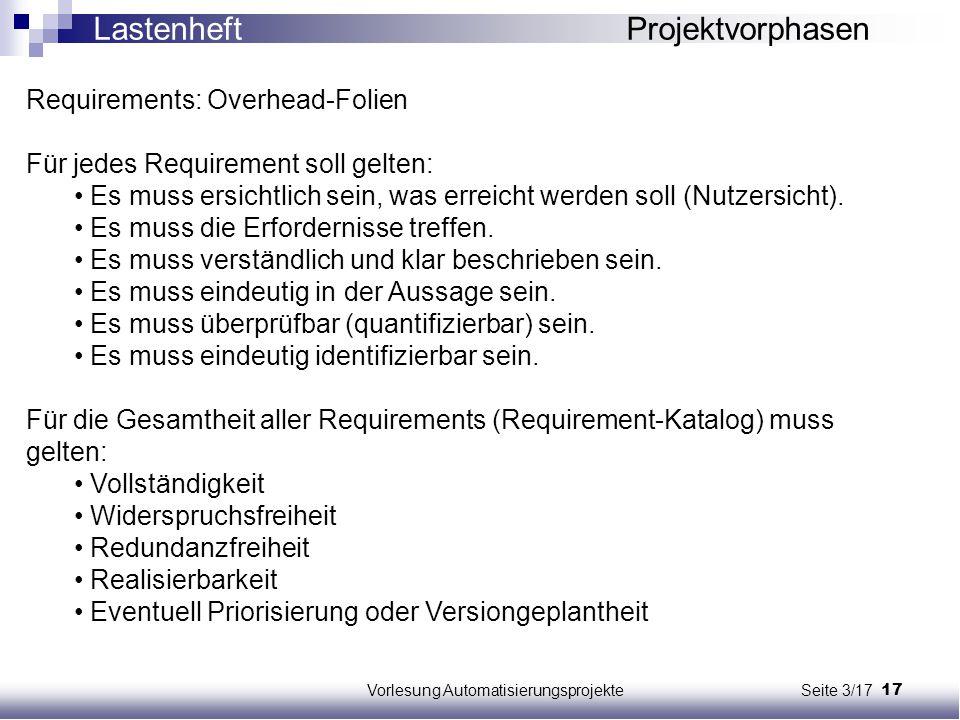 17Vorlesung Automatisierungsprojekte Seite 3/17 Requirements: Overhead-Folien Für jedes Requirement soll gelten: Es muss ersichtlich sein, was erreich