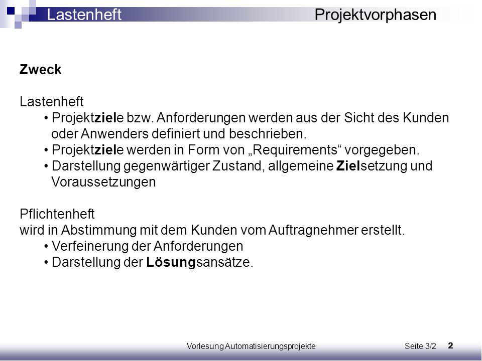 2Vorlesung Automatisierungsprojekte Seite 3/2 Zweck Lastenheft Projektziele bzw. Anforderungen werden aus der Sicht des Kunden oder Anwenders definier