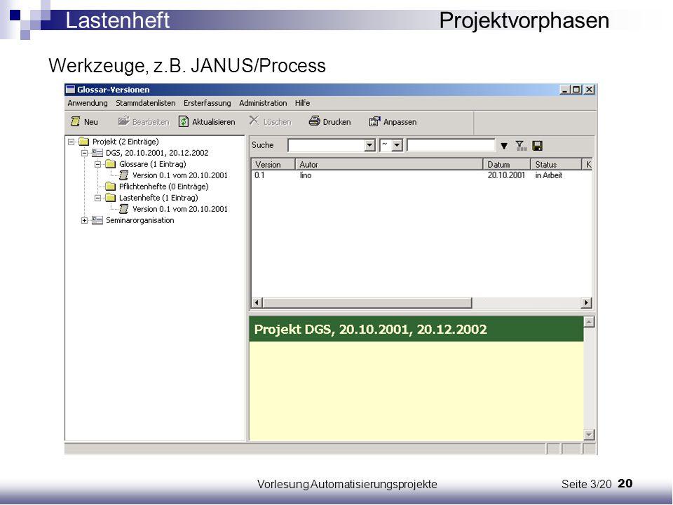 20Vorlesung Automatisierungsprojekte Seite 3/20 Werkzeuge, z.B. JANUS/Process Lastenheft Projektvorphasen