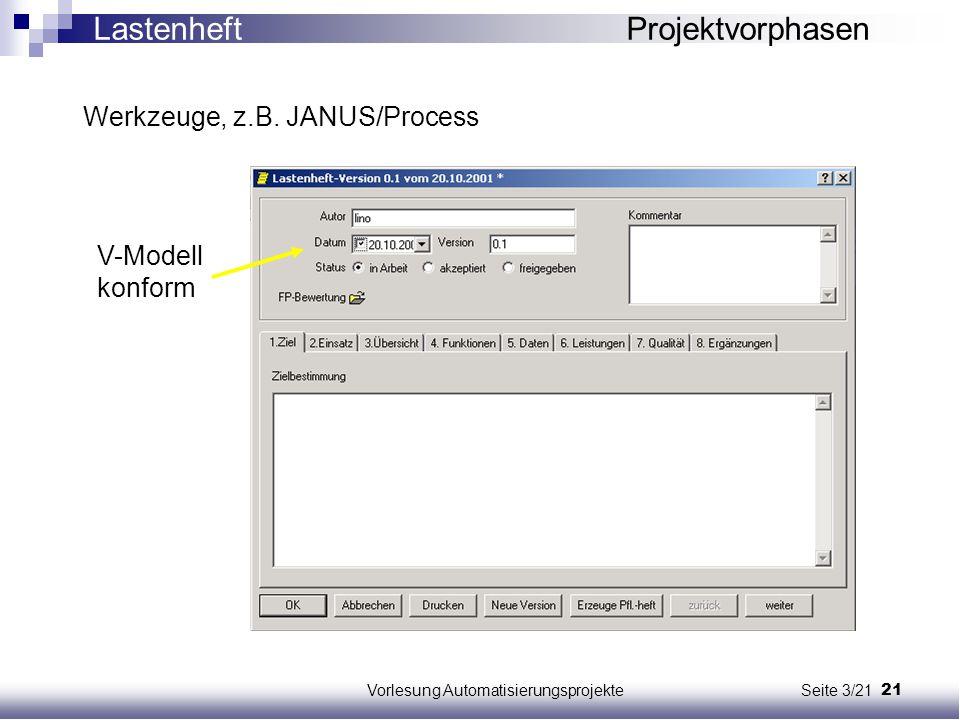 21Vorlesung Automatisierungsprojekte Seite 3/21 Werkzeuge, z.B. JANUS/Process V-Modell konform Lastenheft Projektvorphasen