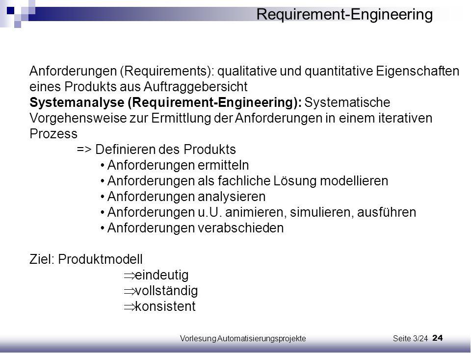 24Vorlesung Automatisierungsprojekte Seite 3/24 Anforderungen (Requirements): qualitative und quantitative Eigenschaften eines Produkts aus Auftraggeb