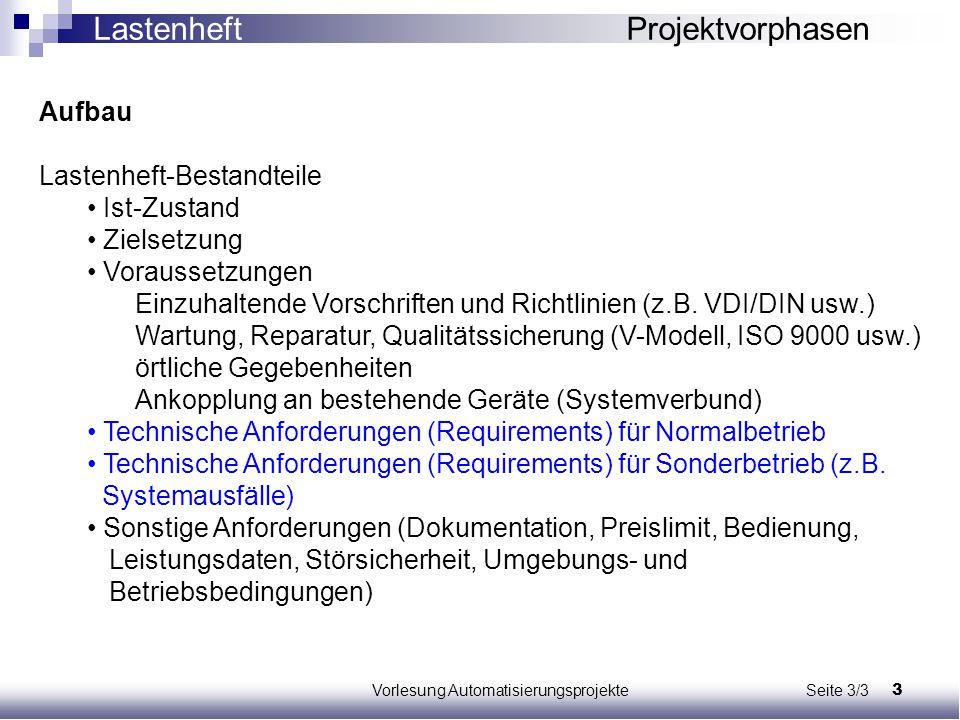 3Vorlesung Automatisierungsprojekte Seite 3/3 Aufbau Lastenheft-Bestandteile Ist-Zustand Zielsetzung Voraussetzungen Einzuhaltende Vorschriften und Ri