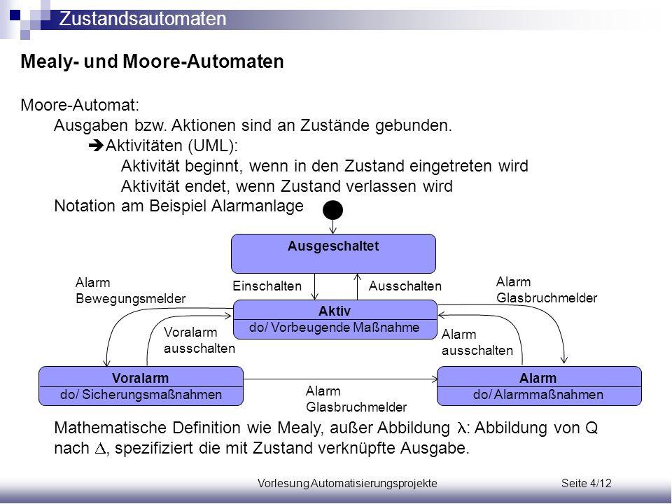 Vorlesung Automatisierungsprojekte Seite 4/12 Mealy- und Moore-Automaten Moore-Automat: Ausgaben bzw. Aktionen sind an Zustände gebunden.  Aktivitäte
