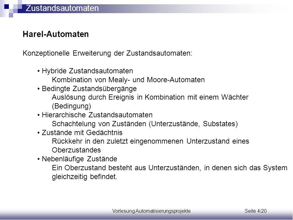 Vorlesung Automatisierungsprojekte Seite 4/20 Harel-Automaten Konzeptionelle Erweiterung der Zustandsautomaten: Hybride Zustandsautomaten Kombination