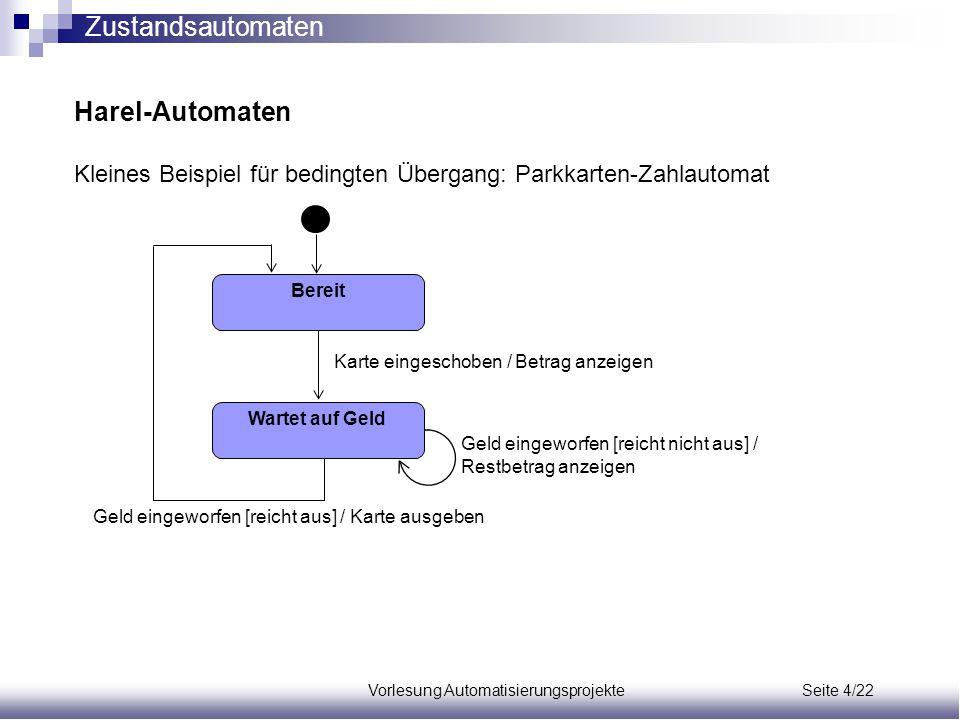 Vorlesung Automatisierungsprojekte Seite 4/22 Harel-Automaten Kleines Beispiel für bedingten Übergang: Parkkarten-Zahlautomat Bereit Wartet auf Geld K