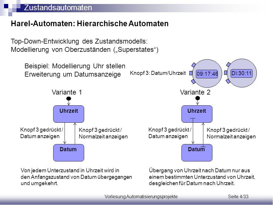Vorlesung Automatisierungsprojekte Seite 4/33 Harel-Automaten: Hierarchische Automaten Top-Down-Entwicklung des Zustandsmodells: Modellierung von Ober