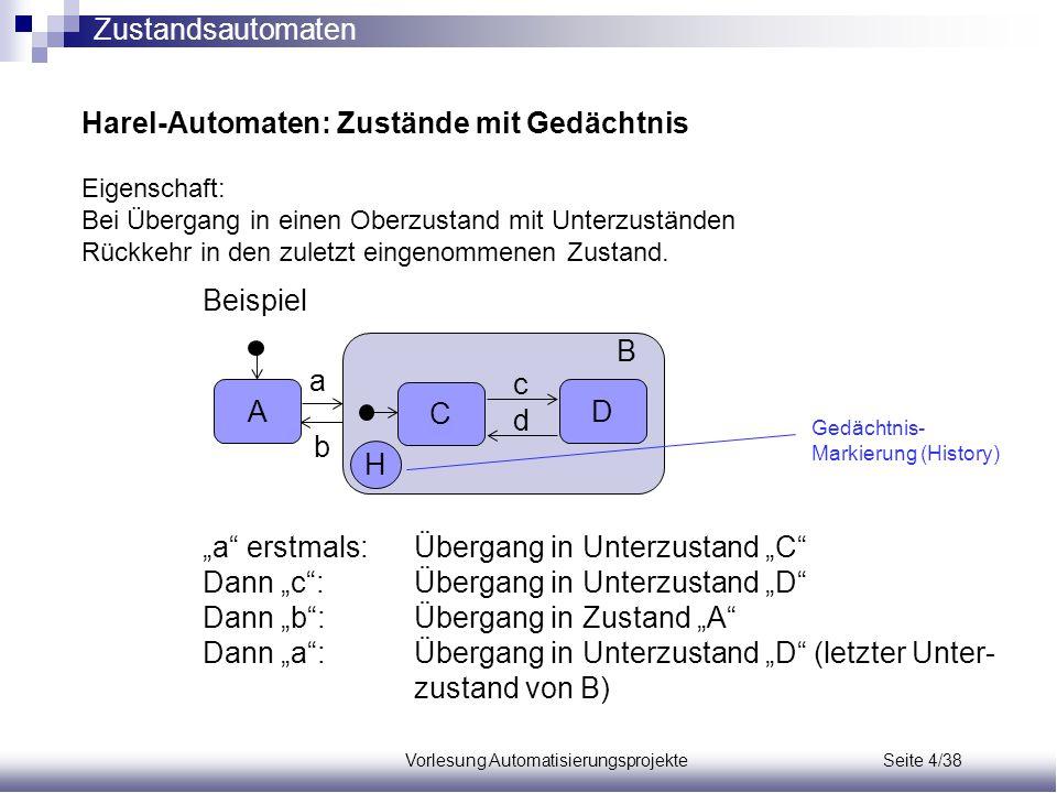 """Vorlesung Automatisierungsprojekte Seite 4/38 Beispiel """"a"""" erstmals:Übergang in Unterzustand """"C"""" Dann """"c"""": Übergang in Unterzustand """"D"""" Dann """"b"""":Überg"""