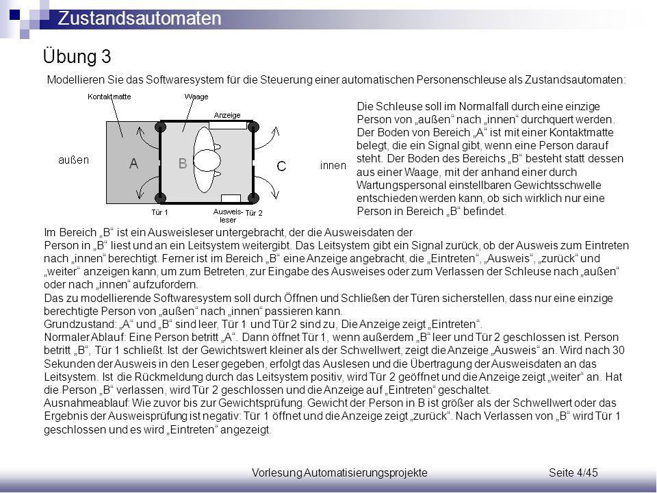 Vorlesung Automatisierungsprojekte Seite 4/45 Übung 3 Modellieren Sie das Softwaresystem für die Steuerung einer automatischen Personenschleuse als Zu