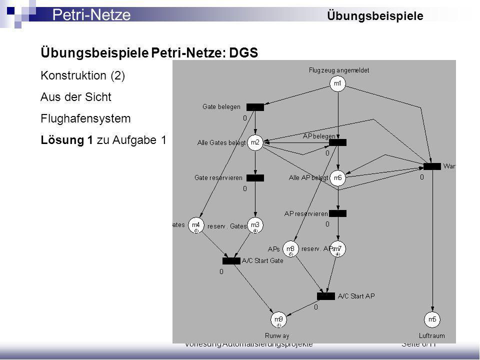 Vorlesung Automatisierungsprojekte Seite 6/11 Übungsbeispiele Petri-Netze: DGS Konstruktion (2) Aus der Sicht Flughafensystem Lösung 1 zu Aufgabe 1 Petri-Netze Übungsbeispiele