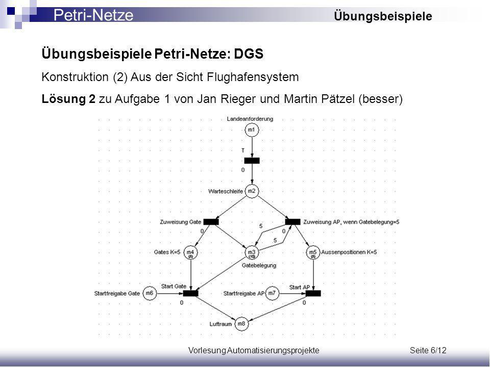 Vorlesung Automatisierungsprojekte Seite 6/12 Übungsbeispiele Petri-Netze: DGS Konstruktion (2) Aus der Sicht Flughafensystem Lösung 2 zu Aufgabe 1 von Jan Rieger und Martin Pätzel (besser) Petri-Netze Übungsbeispiele