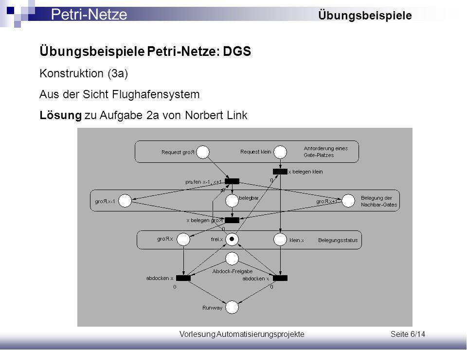 Vorlesung Automatisierungsprojekte Seite 6/14 Übungsbeispiele Petri-Netze: DGS Konstruktion (3a) Aus der Sicht Flughafensystem Lösung zu Aufgabe 2a von Norbert Link Petri-Netze Übungsbeispiele