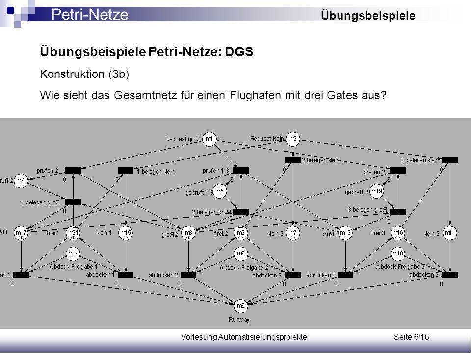 Vorlesung Automatisierungsprojekte Seite 6/16 Übungsbeispiele Petri-Netze: DGS Konstruktion (3b) Wie sieht das Gesamtnetz für einen Flughafen mit drei Gates aus.