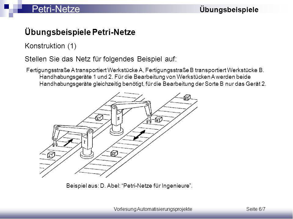Vorlesung Automatisierungsprojekte Seite 6/7 Übungsbeispiele Petri-Netze Konstruktion (1) Stellen Sie das Netz für folgendes Beispiel auf: Fertigungsstraße A transportiert Werkstücke A, Fertigungsstraße B transportiert Werkstücke B.
