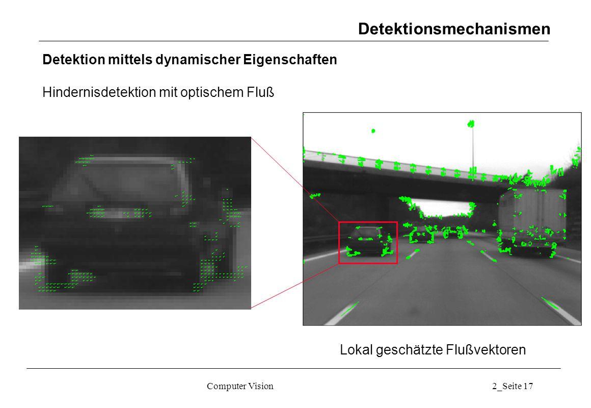 Computer Vision2_Seite 17 Lokal geschätzte Flußvektoren Detektionsmechanismen Detektion mittels dynamischer Eigenschaften Hindernisdetektion mit optis