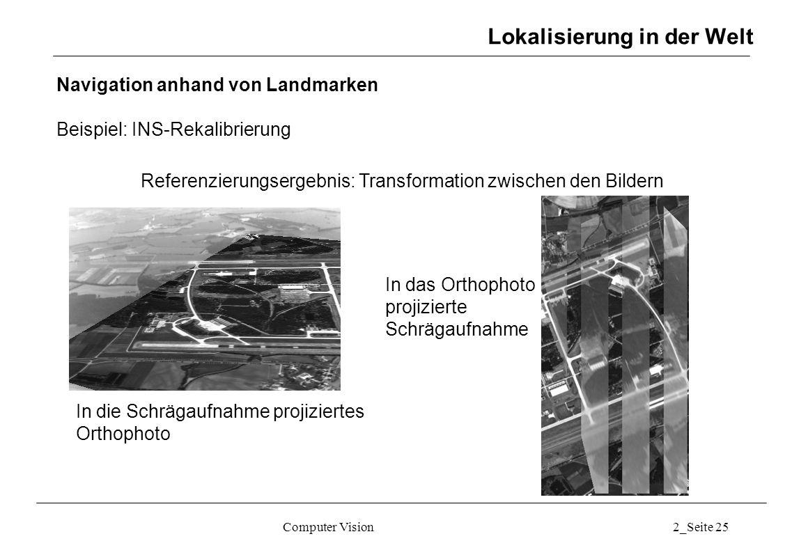 Computer Vision2_Seite 25 Lokalisierung in der Welt Navigation anhand von Landmarken Beispiel: INS-Rekalibrierung In das Orthophoto projizierte Schräg