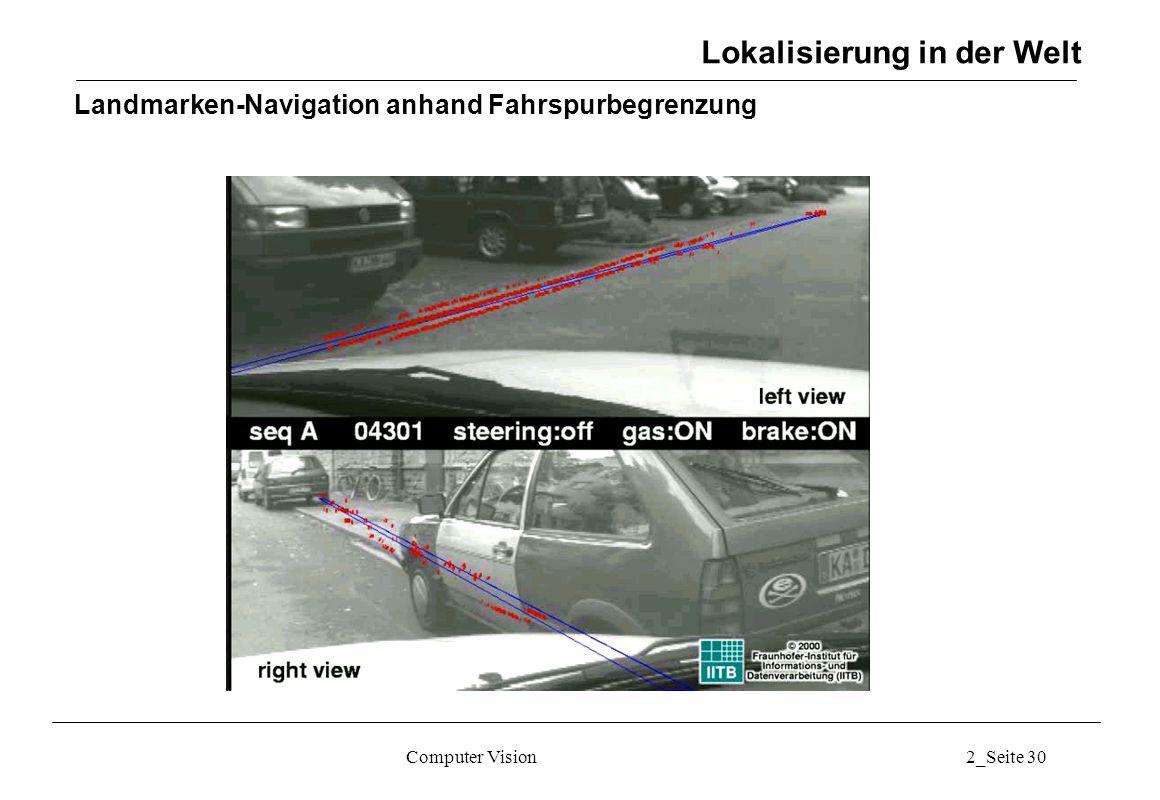 Computer Vision2_Seite 30 Landmarken-Navigation anhand Fahrspurbegrenzung Lokalisierung in der Welt