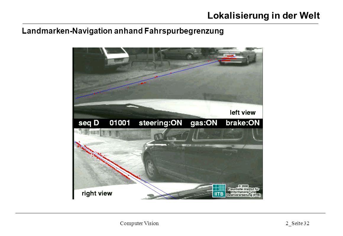 Computer Vision2_Seite 32 Landmarken-Navigation anhand Fahrspurbegrenzung Lokalisierung in der Welt