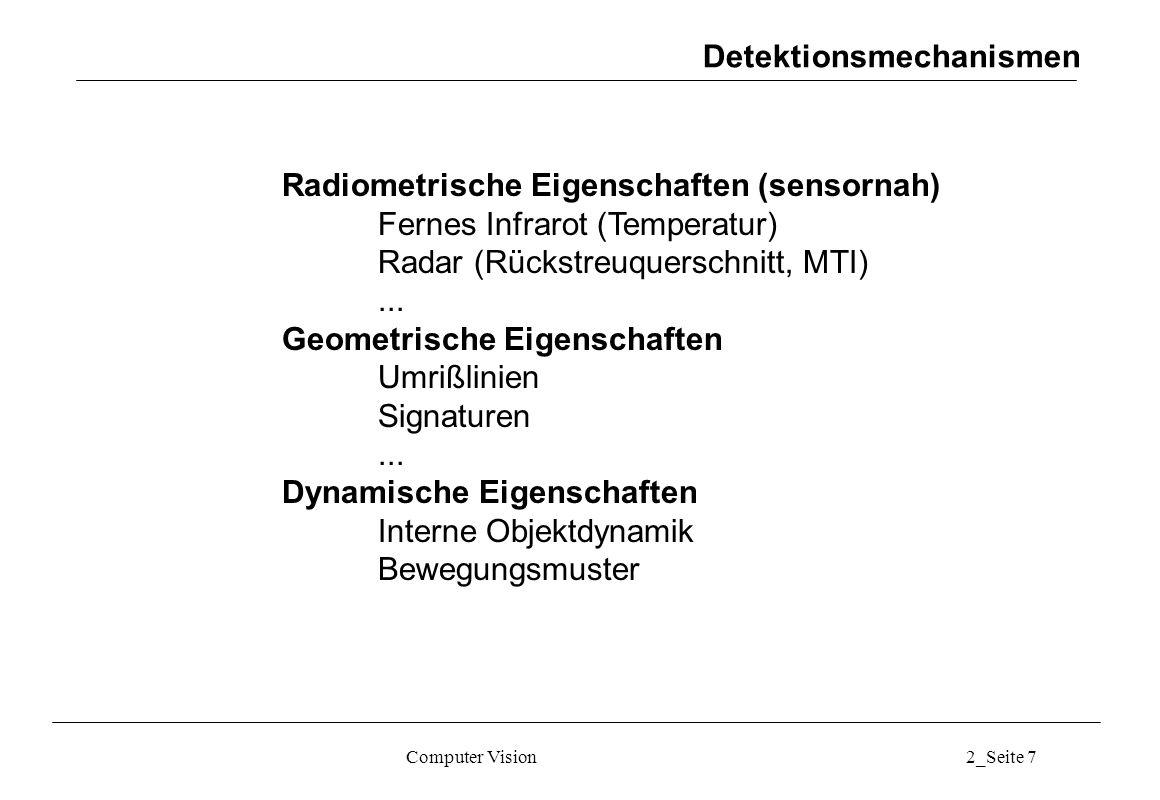 Computer Vision2_Seite 8 Detektion mittels radiometrischer Eigenschaften Fernes Infrarot (Temperatur) Beispiel Flugzeugdetektion in IR-Bildern (8-12 µm) Anzahl Bildpunkte Helligkeit (Grauwert) Hintergrund Objekt Histogrammsegmentierung Detektionsmechanismen