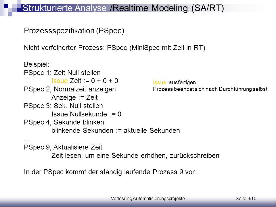Vorlesung Automatisierungsprojekte Seite 8/10 Prozessspezifikation (PSpec) Nicht verfeinerter Prozess: PSpec (MiniSpec mit Zeit in RT) Beispiel: PSpec
