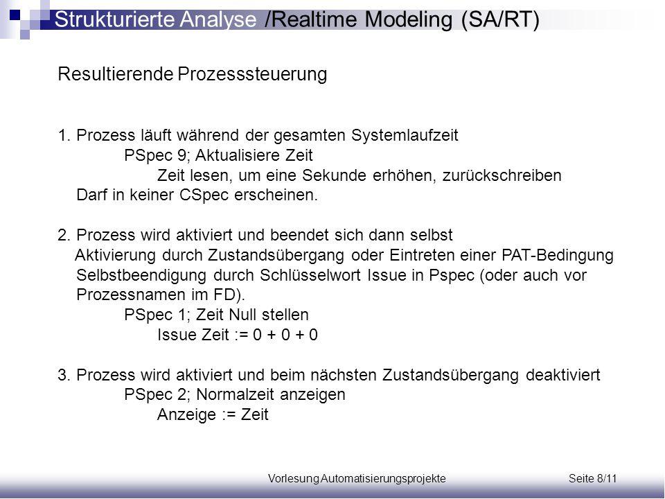Vorlesung Automatisierungsprojekte Seite 8/11 Resultierende Prozesssteuerung 1. Prozess läuft während der gesamten Systemlaufzeit PSpec 9; Aktualisier