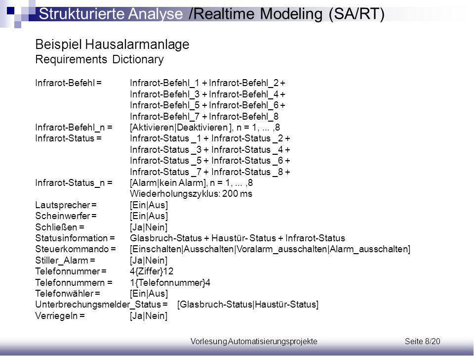 Vorlesung Automatisierungsprojekte Seite 8/20 Beispiel Hausalarmanlage Requirements Dictionary Infrarot-Befehl =Infrarot-Befehl_1 + Infrarot-Befehl_2