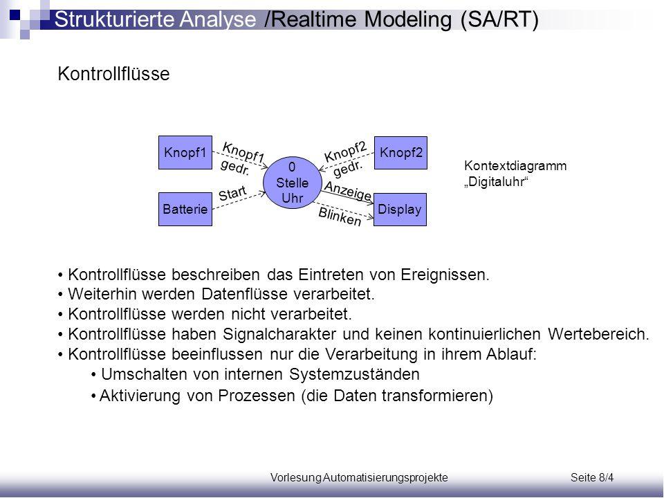 Vorlesung Automatisierungsprojekte Seite 8/15 Zeitspezifikationstabelle Regeln: Eingabeereignisse treten außerhalb des Systems ein.
