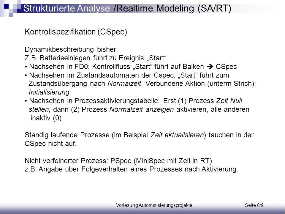 Vorlesung Automatisierungsprojekte Seite 8/10 Prozessspezifikation (PSpec) Nicht verfeinerter Prozess: PSpec (MiniSpec mit Zeit in RT) Beispiel: PSpec 1; Zeit Null stellen Issue Zeit := 0 + 0 + 0 PSpec 2; Normalzeit anzeigen Anzeige := Zeit PSpec 3; Sek.