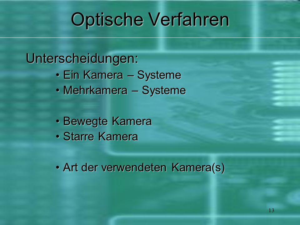 13 Optische Verfahren Unterscheidungen: Ein Kamera – SystemeEin Kamera – Systeme Mehrkamera – SystemeMehrkamera – Systeme Bewegte KameraBewegte Kamera Starre KameraStarre Kamera Art der verwendeten Kamera(s)Art der verwendeten Kamera(s)