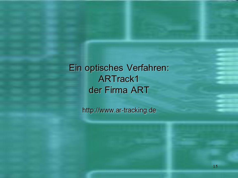 15 Ein optisches Verfahren: ARTrack1 der Firma ART http://www.ar-tracking.de