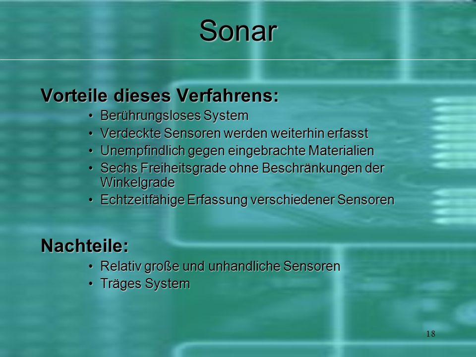 18Sonar Vorteile dieses Verfahrens: Berührungsloses SystemBerührungsloses System Verdeckte Sensoren werden weiterhin erfasstVerdeckte Sensoren werden