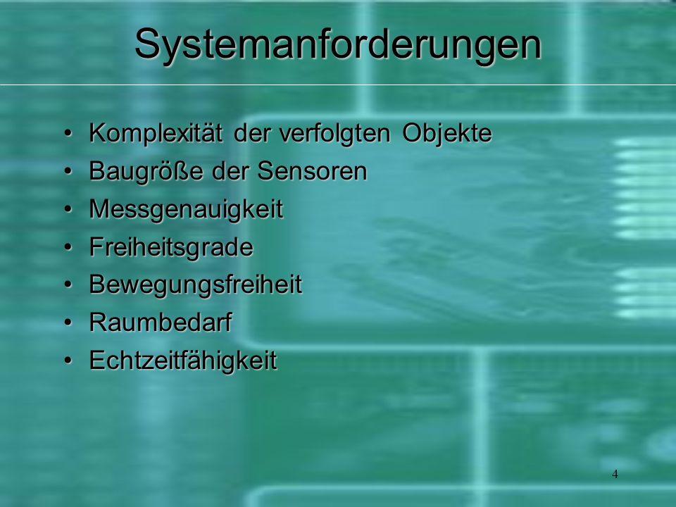 4Systemanforderungen Komplexität der verfolgten ObjekteKomplexität der verfolgten Objekte Baugröße der SensorenBaugröße der Sensoren MessgenauigkeitMessgenauigkeit FreiheitsgradeFreiheitsgrade BewegungsfreiheitBewegungsfreiheit RaumbedarfRaumbedarf EchtzeitfähigkeitEchtzeitfähigkeit