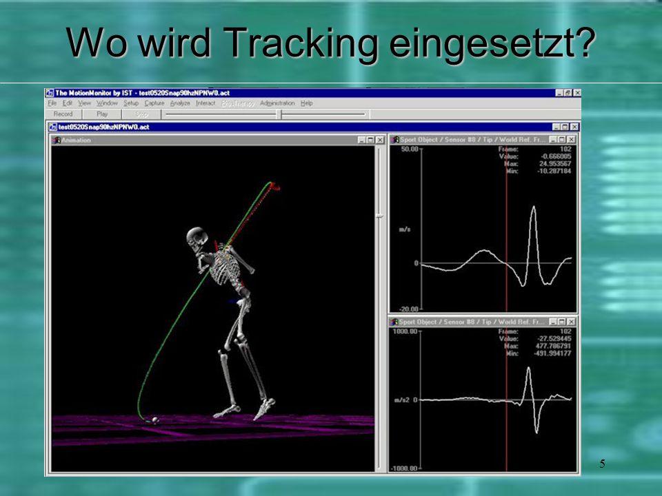5 BiomechanikBiomechanik MedizinMedizin Virtual RealityVirtual Reality Erweiterte Realit ä tErweiterte Realit ä t Simulation und Ü bungSimulation und Ü bung Motion CapturingMotion Capturing Wo wird Tracking eingesetzt