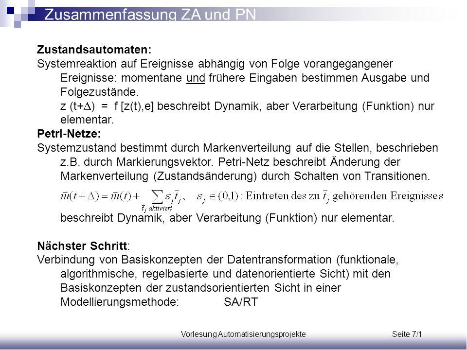 Vorlesung Automatisierungsprojekte Seite 7/1 Zusammenfassung ZA und PN Zustandsautomaten: Systemreaktion auf Ereignisse abhängig von Folge vorangegang