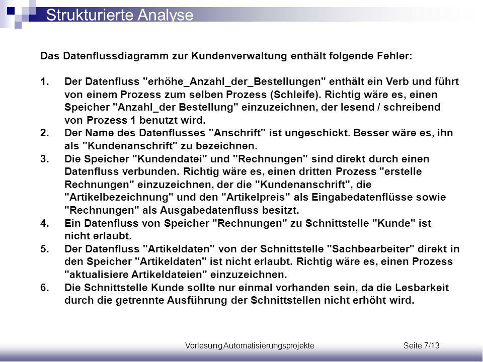 Vorlesung Automatisierungsprojekte Seite 7/13 Das Datenflussdiagramm zur Kundenverwaltung enthält folgende Fehler: 1.Der Datenfluss
